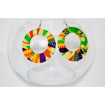 Kente  African Print Large Hoop Earrings Yellow