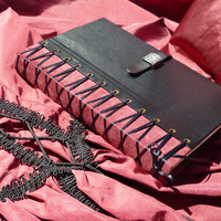 Corset Leather Journal, black and burgundy leather, and working closure OOAK Steampunk
