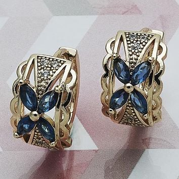 Gold Layered Women Flower Huggie Hoop, with Sapphire Blue Cubic Zirconia, by Folks Jewelry