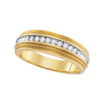 10kt Yellow Gold Mens Round Diamond Two-tone Milgrain Wedding Anniversary Band Ring 1/4 Cttw