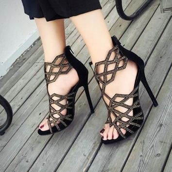 High Heels Shoes Concise Women's Gladiator Sandals Cut Out Fashion Summer Pumps