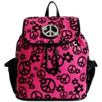 Soft Velvety Peace Sign Small Backpack Purse (pink)
