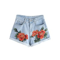 Women Blue Floral Embroidery Rolled Hem Casual Summer Shorts Button Vintage Cute Shorts