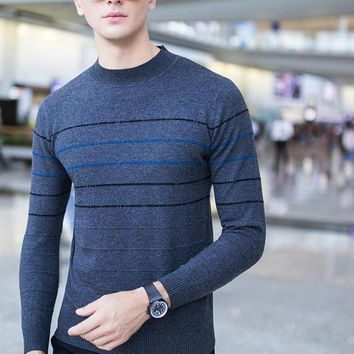 O-neck Knitting Striped Men Casual Pullover Jacquard Patchwork Boutique Men Clothing Merino Wool Male Sweaters