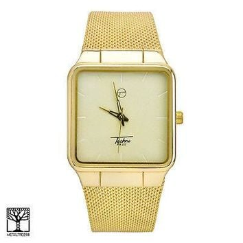 Jewelry Kay style Men's Fashion 14K Gold Plated Luxury Square Metal Mesh Band Watches WM 8178 G