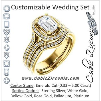 CZ Wedding Set, featuring The Mia Sofia engagement ring (Customizable Cathedral-Halo Emerald Cut Style with Wide Split-Pavé Band)