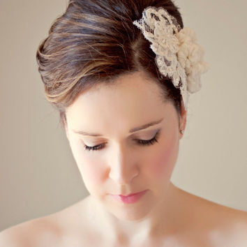 Bridal Lace Headpiece Ivory French Lace Bridal Hair Comb Pearls Sequins Silk Chiffon Flower Headpiece Floral Lace Wedding Hairpiece