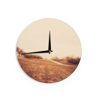 "Sylvia Coomes ""Minimalist Autumn Landscape"" Multicolor Yellow Wall Clock"
