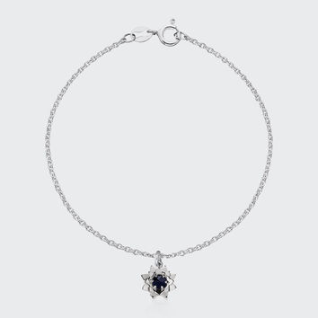 Protea Charm Bracelet with Stone - silver/midnight sapphire
