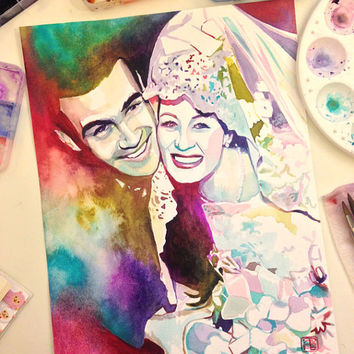 SPECIAL PAINTING for WEDDING anniversary for parents / in laws - Custom art - Portrait