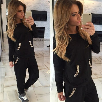 New Women Fashion Casual Pullover Sport Sweatshirt Hoodie Pants Tracksuit Set