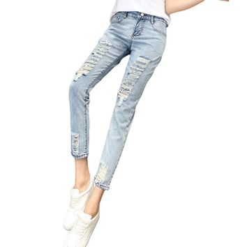 2016 New Skinny Women Jeans Fashion Loose High-waist Pencil Pants Casual Washed Hole Ripped Boyfriend Female Stretch Denim Pants