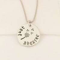 """""""Just Breathe"""" Charm Pendant Necklace OR Keychain"""