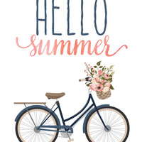 Hello Summer Print / Floral Bicycle Print / Bicycle Wall Art / Bicycle Art / Pink Blush and Navy /Summer Wall Art / Up to 13x19