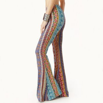 Fashion Sexy Show Thin Retro Print Bell-Bottom Trousers Casual Pants