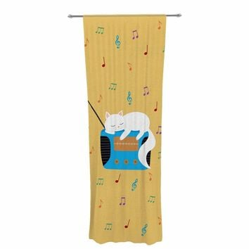 "Cristina Bianco Design ""Sleeping Cat - Vintage Radio"" Yellow White Illustration Decorative Sheer Curtain"