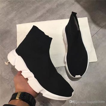 2017 PARIS Balenciaga Original High Quality Unisex Casual Shoes Flat Fashion Socks Boots Woman New Slip-on Elastic Cloth Speed Trainer Runner Man Shoes Outdoors