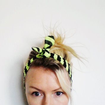 The Top Knot Headband In Neon Stripe by SevenWhiteRabbits on Etsy