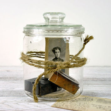 Vintage Glass Jar / Glass Storage Container by havenvintage