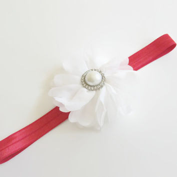 girls white pearl flower headband -red headband, baby headband, toddler headband,girls headband, newborn photo prop,baby headband, UK seller