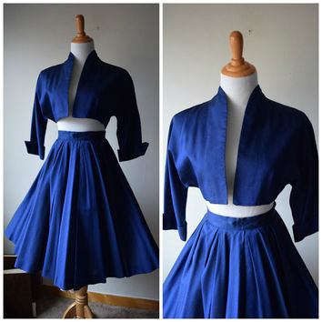 50s Circle Skirt & Dolman Bolero Jacket Set in Royal Navy Blue // Pinup Housewife Perfection, Betty Draper Mad Men Style // XS/XXS
