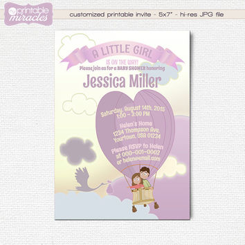 Stork baby shower invitation, purple balloon baby shower invite, Printable cute baby shower invitation with stork and air balloon