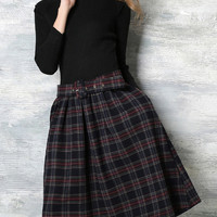 Black Long Sleeve Knit Belted Plaid Dress