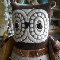 Mokko Manolo  owl  ,  soft art  creature toy friend by   Wassupbrothers.