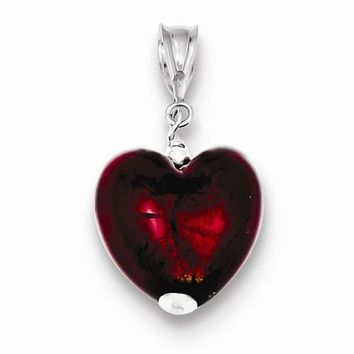 Sterling Silver Gold & Ruby Murano 12mm Glass Heart Pendant