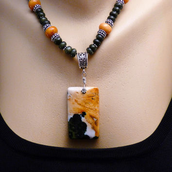 Ocean Jasper Pendant Nephrite Jade and Silver Necklace and Earring Set