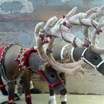 MADE TO ORDER Christmas Reindeer heirloom decoration: Special Christmas one-of-a-kind table centrepiece or home decoration