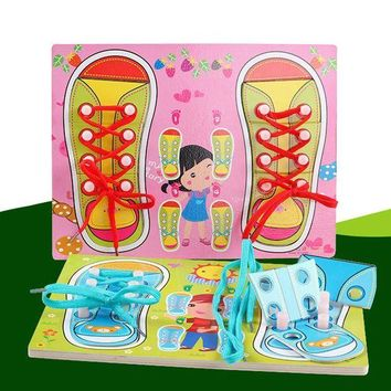 Teaching Wooden Toys Puzzles Board Kids Learn Tie Shoe Lace Toy Montessori Educational