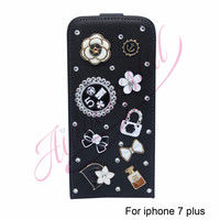 Black Flip Leather Case For iPhone 7 plus Hight Quality crystal Cell Phone Case Cover For iPhone 7Case Cover -0329