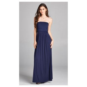 Adorable Strapless Buttery Soft Navy Maxi Dress