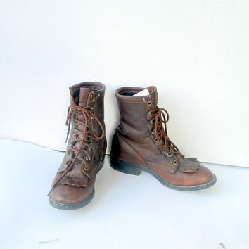 sz 6m vintage LAREDO brown leather lace up granny boots