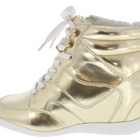 BETHANY17 GOLD METALLIC LACE UP SNEAKER WEDGE