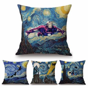 Batman Dark Knight gift Christmas Van Gogh Starry Night Oil Painting Batman Ironman Witch Home Decor Pillow Cover Tardis Peter Pan Creative Linen Cushion Cover AT_71_6