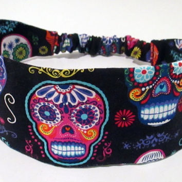 Day of the Dead Fabric Headband Reversible Adult Headband Skull Headband