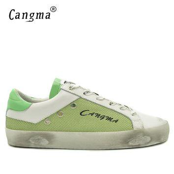 CANGMA New Arrival Luxury Shoes Men Sneakers Green Hemp Classic Casual Shoes For Man Genuine Leather Footwear Factory In China