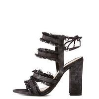 Bamboo Frayed Denim Caged Sandals