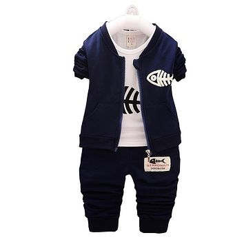 BibiCola Baby Boys Clothing Sets Spring Children Cartoon Clothes Bebe Boy 3pcs Fashion Outfits Suit Autumn Toddler Tracksuit Set