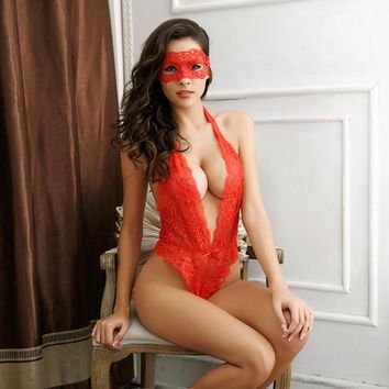 Deep Plunge Lace Teddy