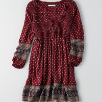 AEO SMOCKED PRINT SHIFT DRESS