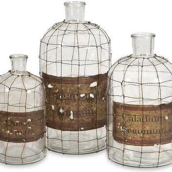 Dimora Wire Caged Bottles - Set of 3