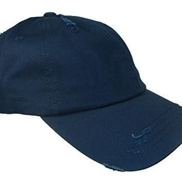 Distressed Weathered Vintage Polo Style Baseball Cap (One Size, Navy Blue)