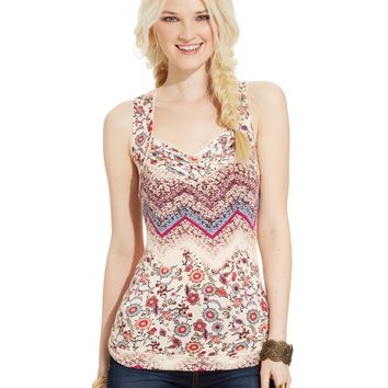 American Rag Mixed-Print Back-Cutout Top