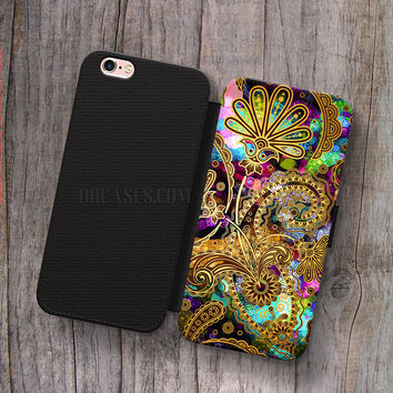 Wallet Leather Case for iPhone 4s 5s 5C SE 6S Plus Case, Samsung S3 S4 S5 S6 S7 Edge Note 3 4 5 Paisley Overdose Cases