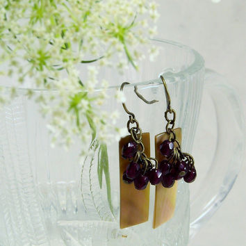 Antique Brass Dangle Earrings with Rectangular Creamy Iridescent Shell Pendant and Deep Ruby Red Faceted Glass Beads