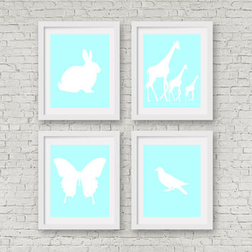 Baby Boy Nursery - Nursery Wall Art -  Baby Boy Nursery Printables -Blue Wall Art - Baby Shower Gifts  - Animal Wall Art Printables-