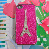 iPhone 4 4S hard case cover with rhineston eiffel tower for iPhone 4 case,iPhone 4S case , iPhone 4GS case,iPhone case  SJK-2551